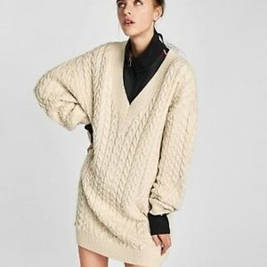 Zara Chunky Oversized Cable Knit Sweater Tunic